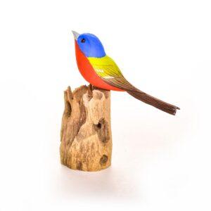 carved painted indigo bunting, bird watching gift