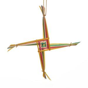 small colorful woven wheat brigids cross ornament