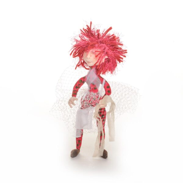 hot pink pixie doll carrying toilet paper, covid handmade coll