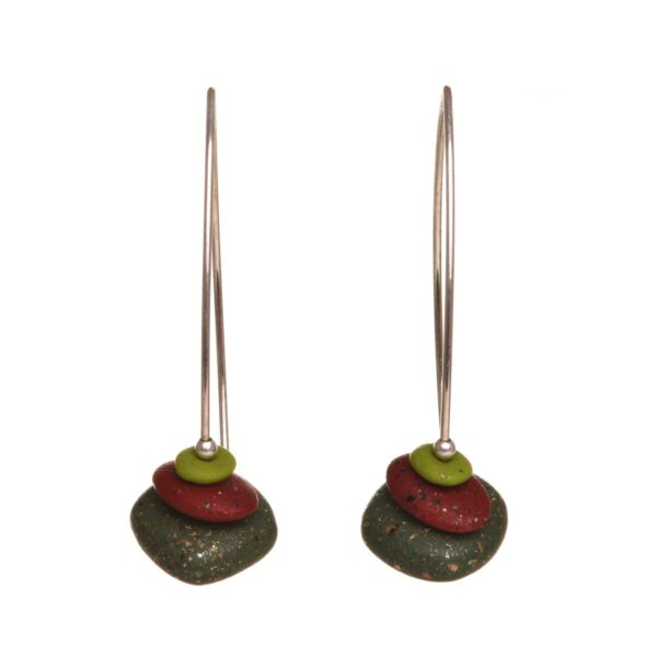 handcrafted polymer pebble drop earrings