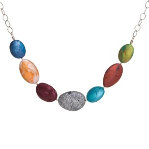 colorful polymer clay stone necklace, nc polymer clay jeweler