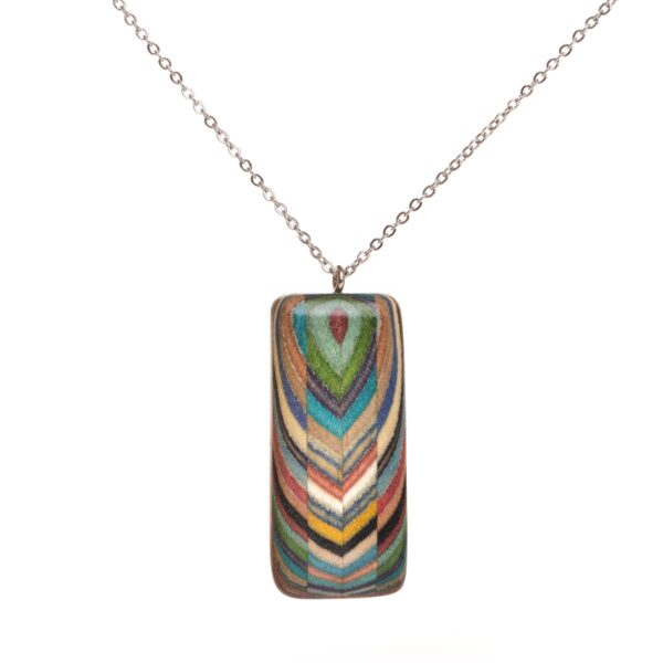 colorful rectangle layered wooden necklace