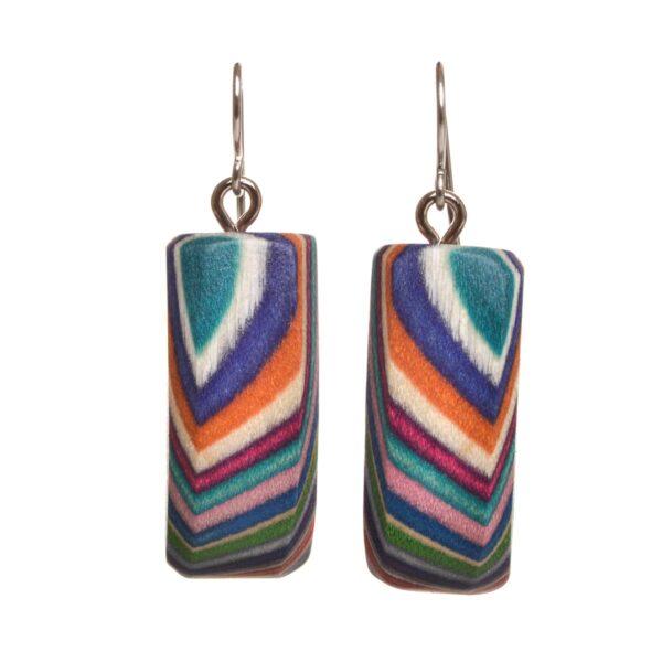 medium rectangle rainbow layered wooden earrings