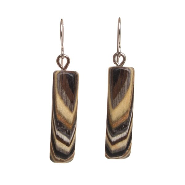natural colored wooden layered earrings