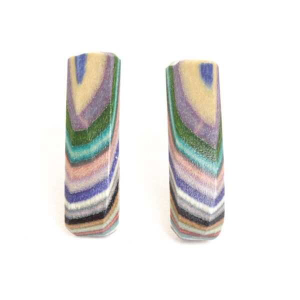 short rectangle post earrings made of rainbow layered wood