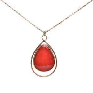 red coral handcrafted pendant, north carolina jewelery