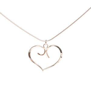 silver forged heart necklace, valentine's jewelry, nc heart necklace