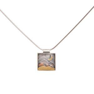 mountain landscape necklace, mixed metal mountain scene pendant