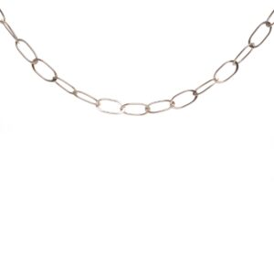 silver hammered oval chain