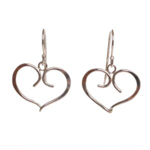silver forged fancy heart earrings