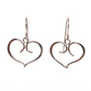silver forged fancy heart earrings