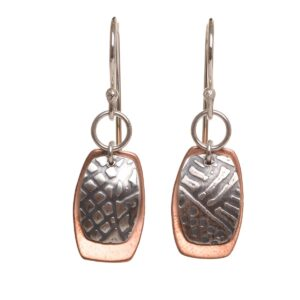 mixed metal copper and silver embossed and oxidized earrings