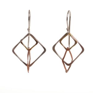 silver brass and copper square earrings, handcrafted earrings