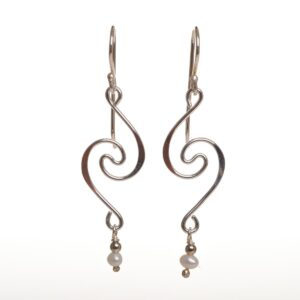 sterling silver spiral earrings with small pearl bead