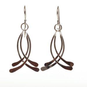 silver hammered dangle earrings, handmade silver earrings, nc jewelry