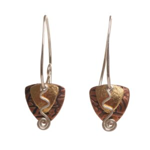 mixed metal artistic earrings, brass copper and silver abstract earrings