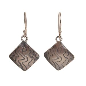 oxidized silver diamond shaped earrings with squiggles