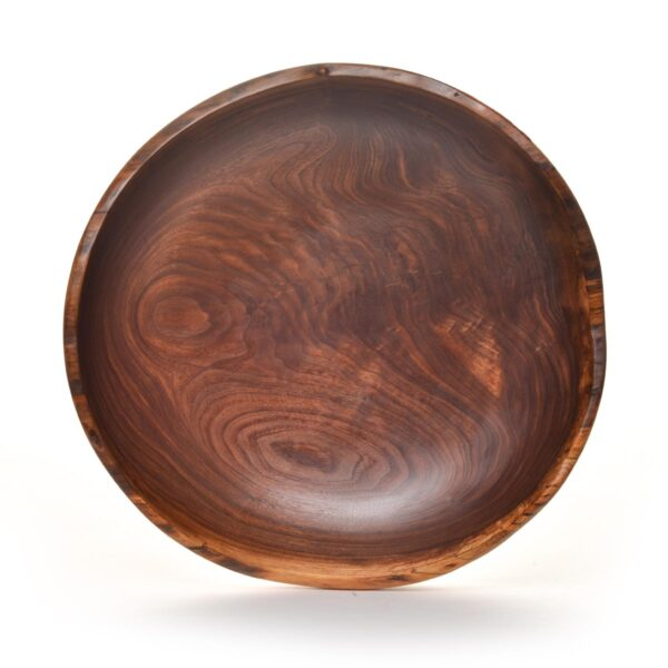 natural edge turned walnut bowl, large turned natural edge bowl