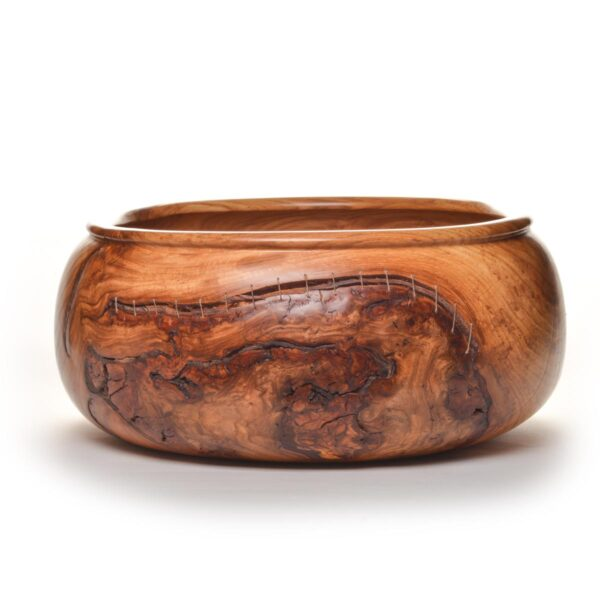 silver maple turned bowl with bark inclusions