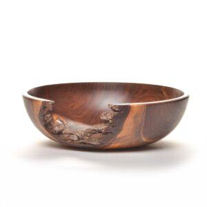 bark edge wooden walnut bowl with large bark whole