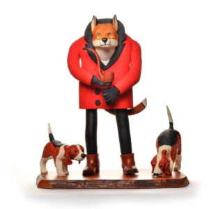 hand carved wooden fox with coat and 2 hound dogs sculpture
