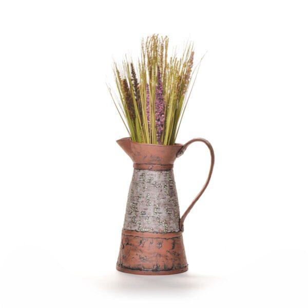 large terracotta laurel pitcher with slip and underglazes