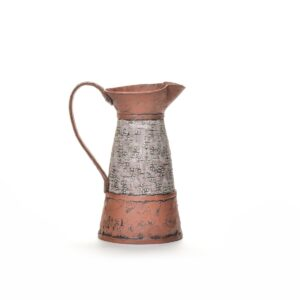 large terracotta laurel pitcher with slip and underglazes