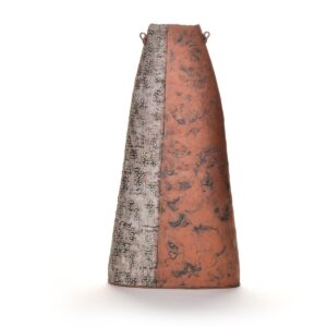 large tall tapered handmade terracotta vase, coil built terracotta vase with half white and half red with little petal decoration