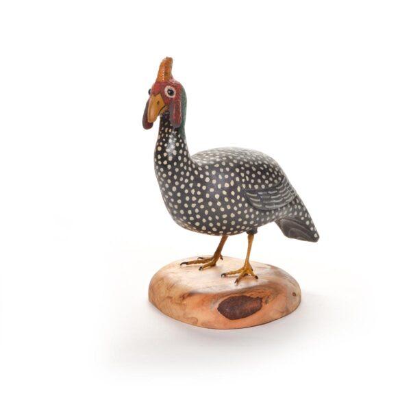 hand carved wooden guinea hen, handmade guinea hen sculpture