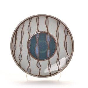 white and blue ceramic handmade platter, large handmade ceramic plate
