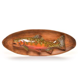 handcarved wooden green back trout, fish carving