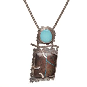 turquoise large oxidized silver handmade necklace, north carolina jeweler