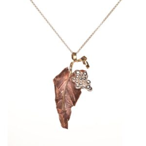 leaf with grapes necklace, wine enthusiast necklace, handmade copper leaf necklace