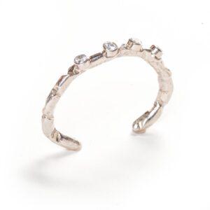 quartz and silver handmade cuff bracelet