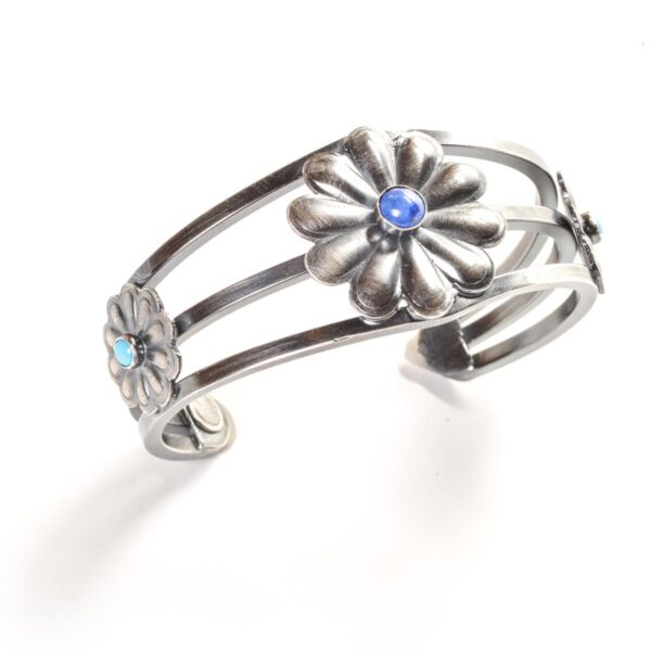 handmade bracelet with flowers and lapis and turquoise gemstones
