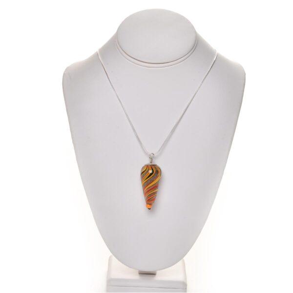 orange and black handmade glass bead necklace