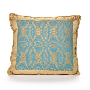 handwoven blue and gray pillow