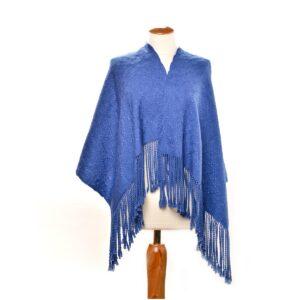 sapphire blue handwoven wrap, bright blue handmade wrap