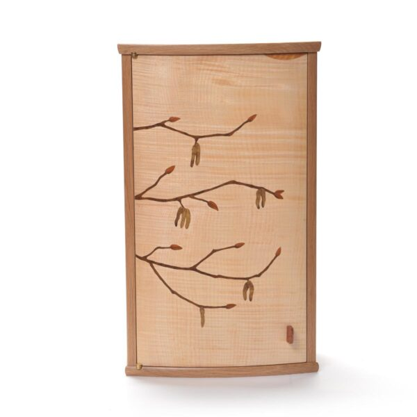 inlayed handcrafted wall cabinet, nc woodworker