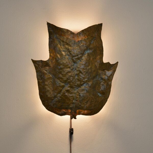 copper handmade hammered leave wall sconce