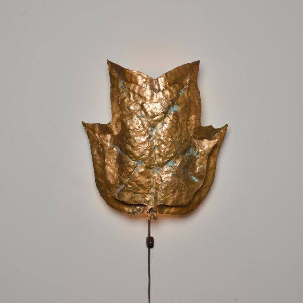 copper leave lamp sconce, hammered copper wall sconce