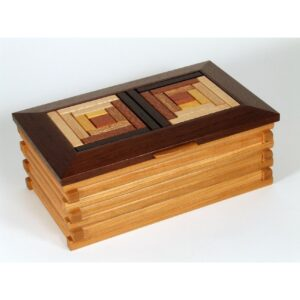 log cabin pattern handmade wooden box, handmade wooden jewelry box