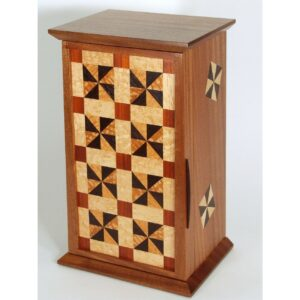 high end wooden quilt square tall jewelry box