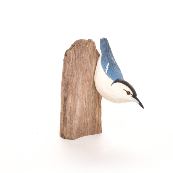 hand carved and painted nuthatch, carved wood bird