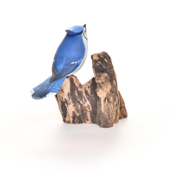 carved and painted blue jar, north carolina bird carver