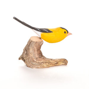 carved and painted wooden carved goldfinch, bird carving