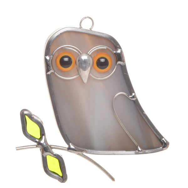 little mini gray stained glass owl