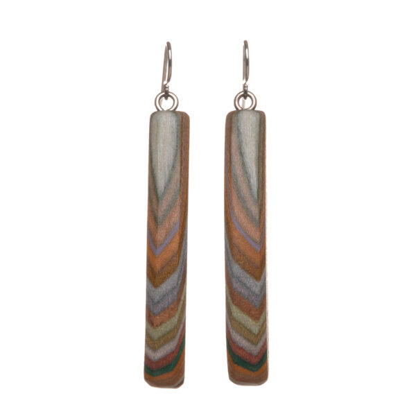 brown colored layer wooden earrings
