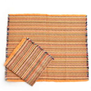 orange handwoven placemats and napkins