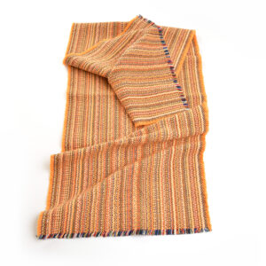 orange handwoven multicolored cotton table runner,